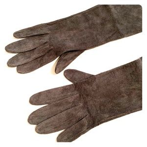 H&M long Grey suede leather gloves